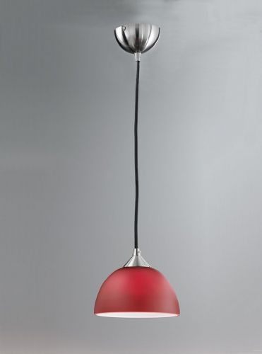 Franklite FL2290/1/933 Satin Nickel & Red Pendant Light